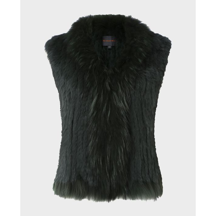 Fur Gilet in Antique Green - croftonandhall