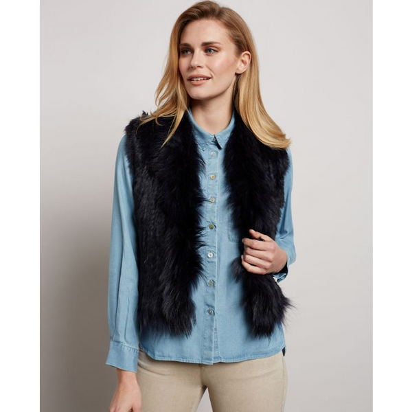 Fur Gilet in Midnight Blue - croftonandhall