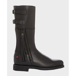 Biker Boots in Black Leather - croftonandhall