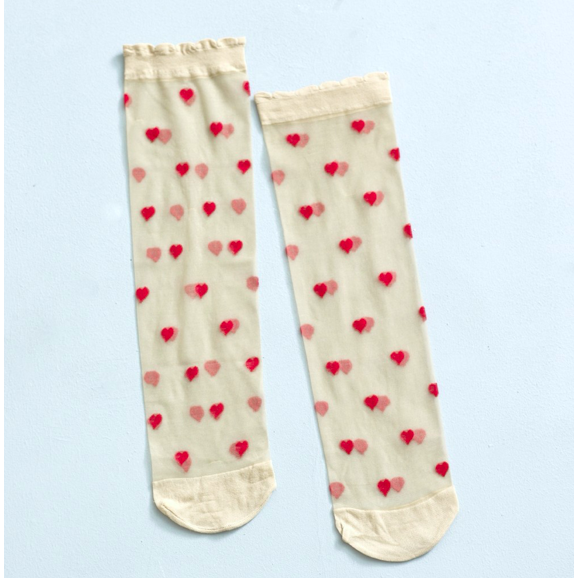 Romantic Nude/Red Hearts Pop Socks 2 Pack - croftonandhall
