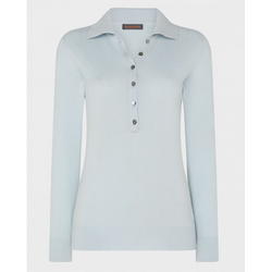 Sky Blue Cashmere Button Collar Jumper | Really Wild - croftonandhall