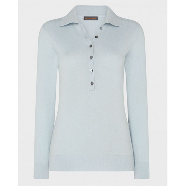 Cashmere Button Collar Jumper | Sky Blue - Crofton & Hall