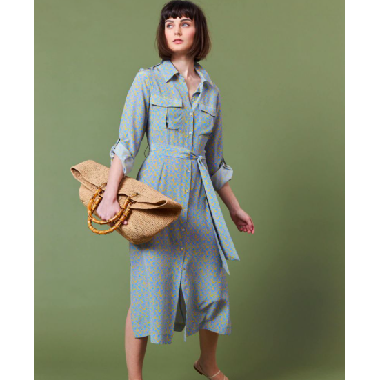 Safari Pocket Shirt Dress | Cornflower Blue Liberty Fabric - Crofton & Hall