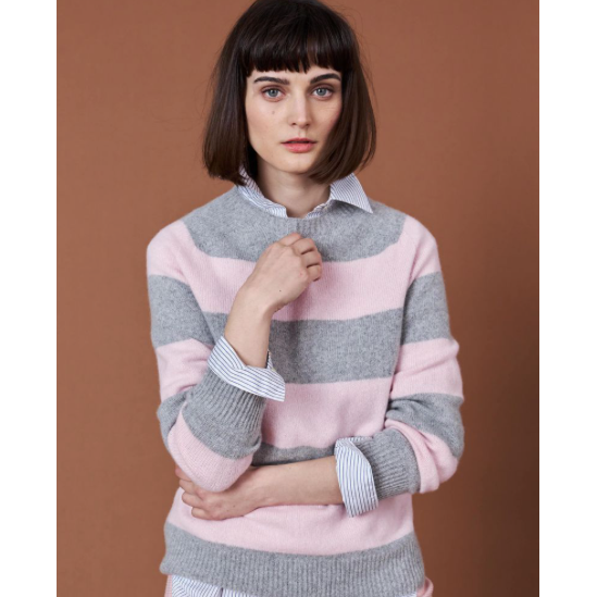 Cashmere Mixed Stripe Crew | Pink Grey - Crofton & Hall