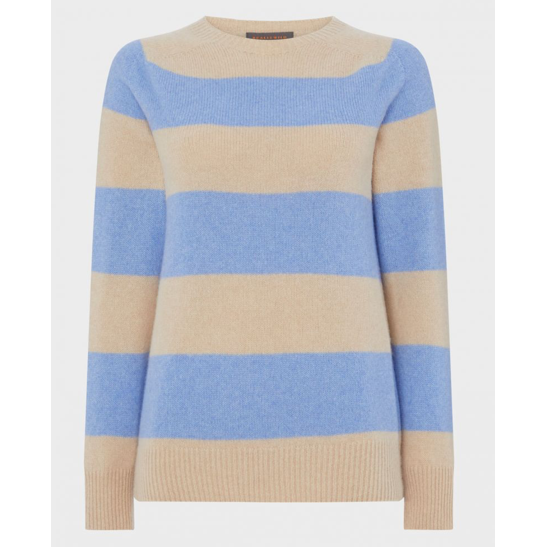 Cashmere Mix Striped Crew | Blue Fawn - Crofton & Hall