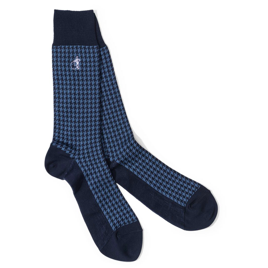 Jermyn St Houndstooth Socks in Blue - croftonandhall