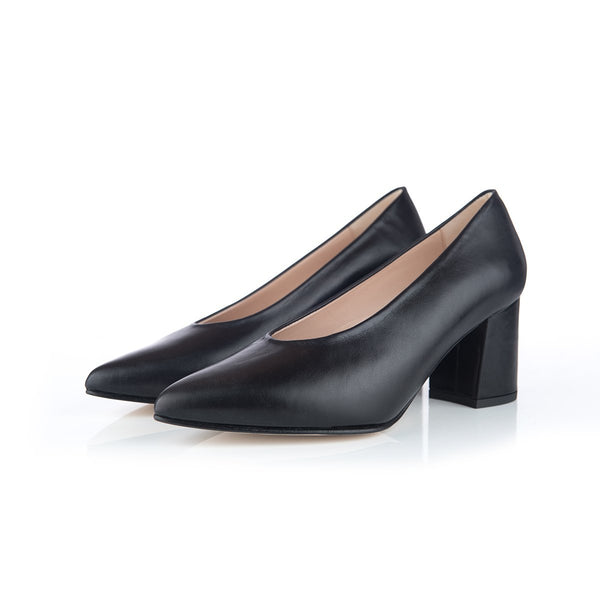 Sienna Wide Fit Block Heel Court Shoes – Black Leather - croftonandhall