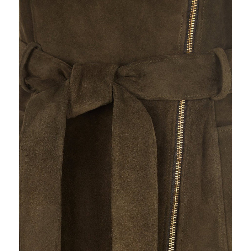Belted Suede Gilet in Olive - croftonandhall