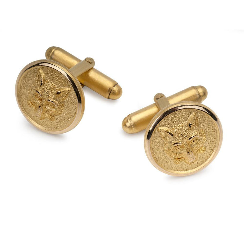 Fox Mask Cufflinks In Gold - croftonandhall