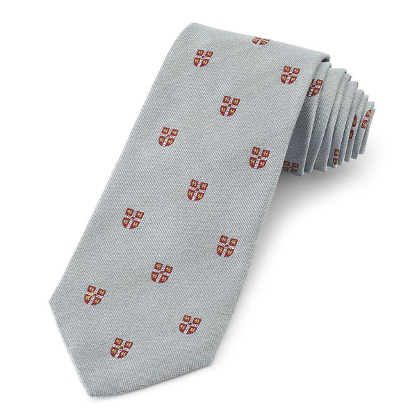 Cambridge University Crested (Blue) Three-Fold Silk Reppe Tie - Crofton & Hall
