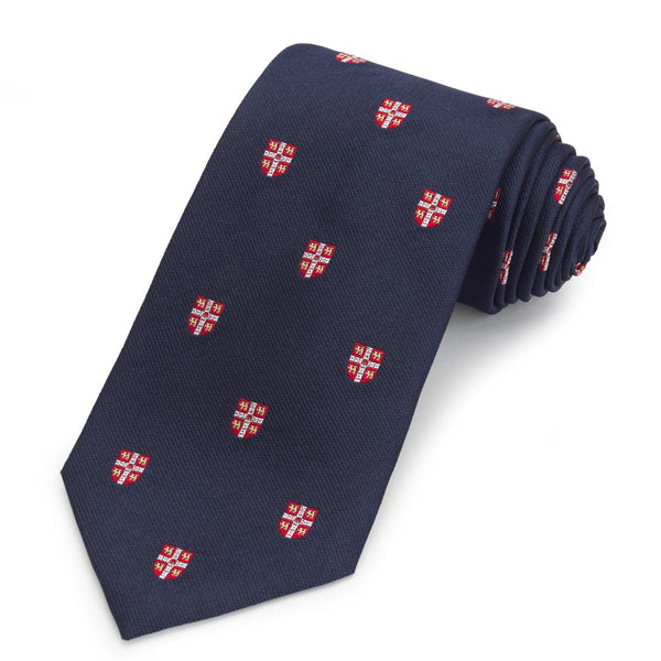 Cambridge University Crested (Navy) Three-Fold Silk Reppe Tie - Crofton & Hall