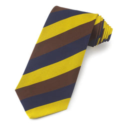 Shrewsbury School (Old Salopian) Wide Stripe Three-Fold Silk Reppe Tie - croftonandhall