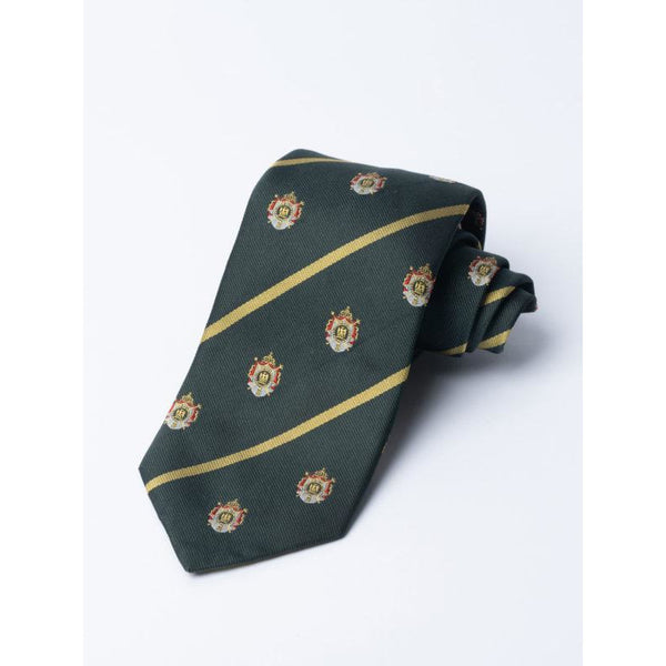 Green Napoleonic Crested Silk Tie - Crofton & Hall
