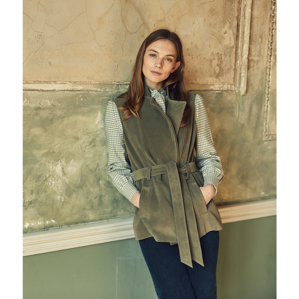 Belted Suede Gilet in Olive - Crofton & Hall