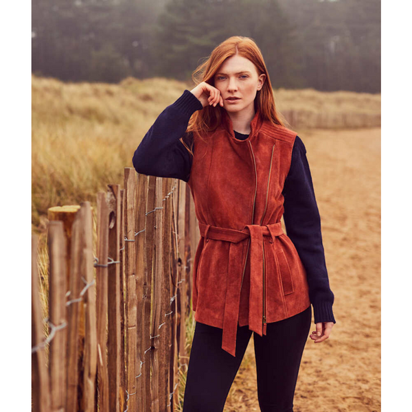 Belted Suede Gilet in Rust - croftonandhall