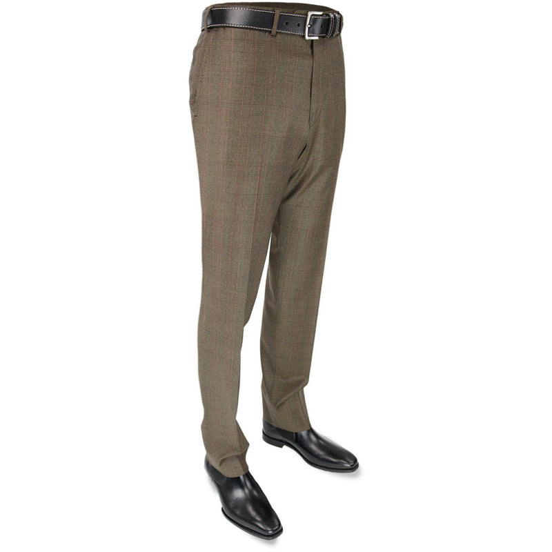 Brown Prince of Wales Check Woollen Trouser - croftonandhall