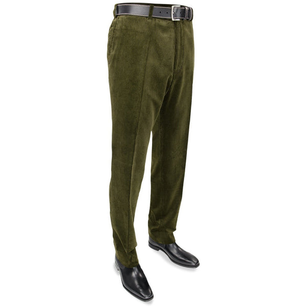 Cotton Corduroy Trousers in Olive - croftonandhall