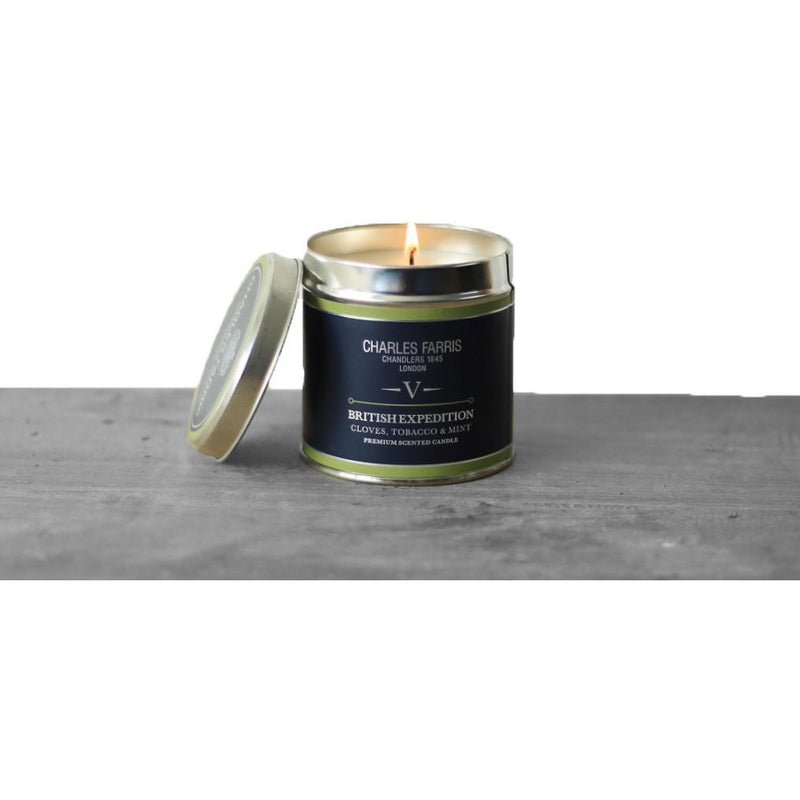 British Expedition Tin Candle | Cloves, Tobacco & Mint Tea - croftonandhall