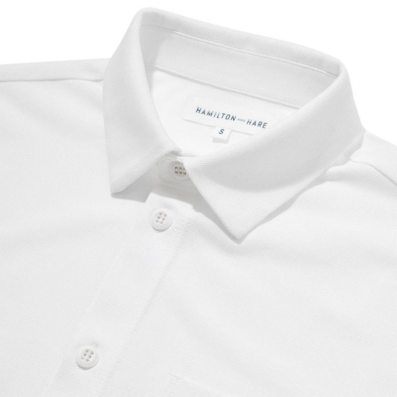Pique Travel Shirt - White - croftonandhall