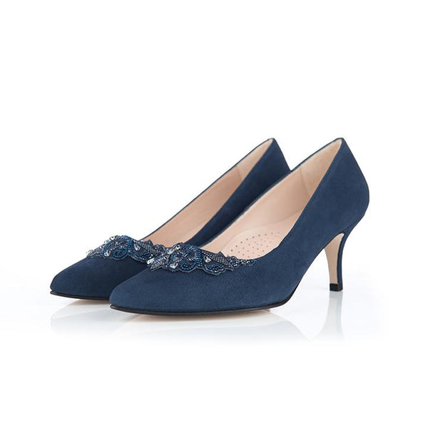 Elyse Wide Fit Court Shoes - Navy Suede - croftonandhall