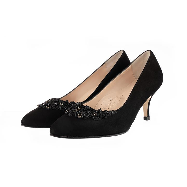 Elyse Wide Fit Court Shoes - Black Suede - croftonandhall
