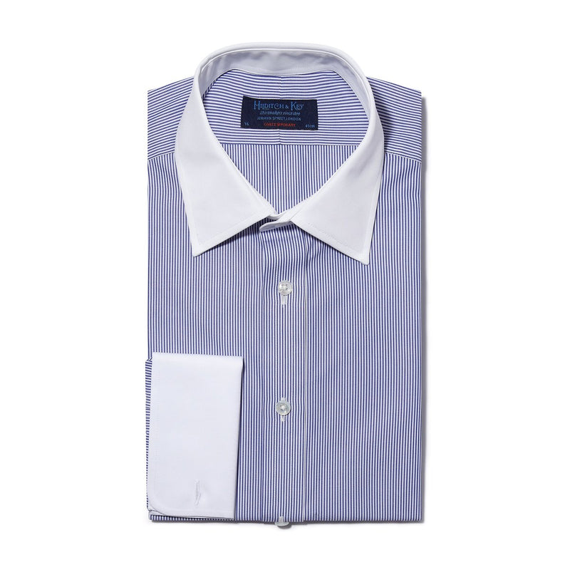 Contemporary Fit, White Classic Collar, White Double Cuff in Navy & White Bengal Stripe Shirt - croftonandhall