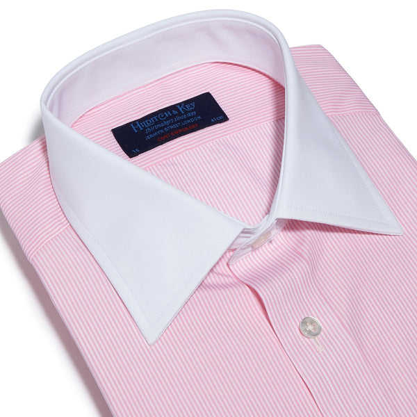 Contemporary Fit, White Classic Collar, White Double Cuff in Pink & White Bengal Stripe Shirt - croftonandhall