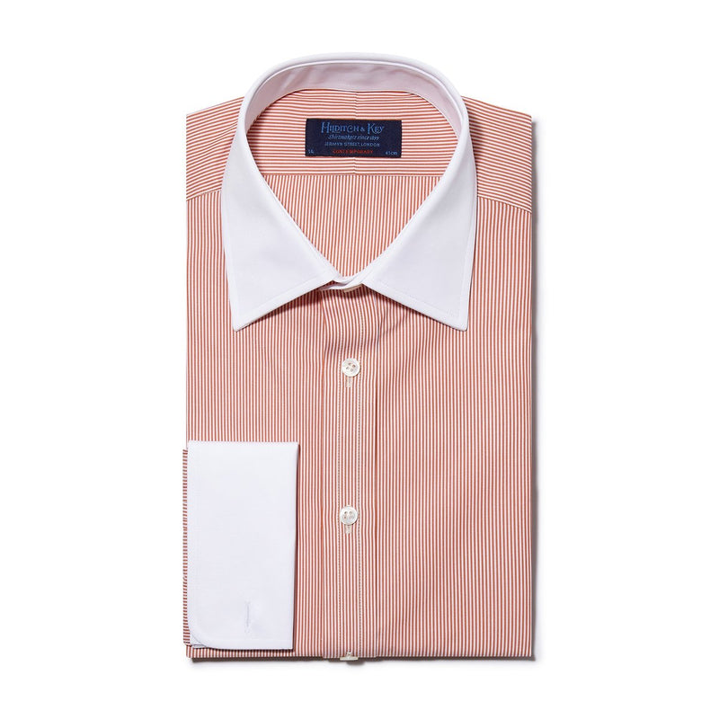Contemporary Fit, White Classic Collar, White Double Cuff in Orange & White Bengal Stripe Shirt - croftonandhall
