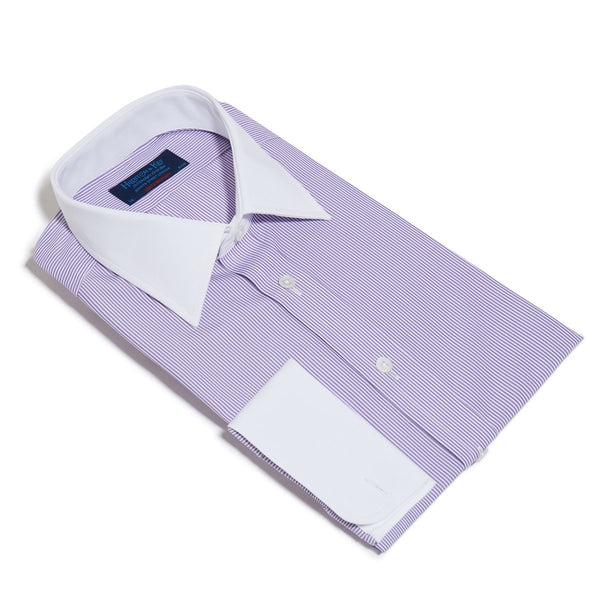 Contemporary Fit, White Classic Collar, White Double Cuff in Purple & White Bengal Stripe Shirt - croftonandhall
