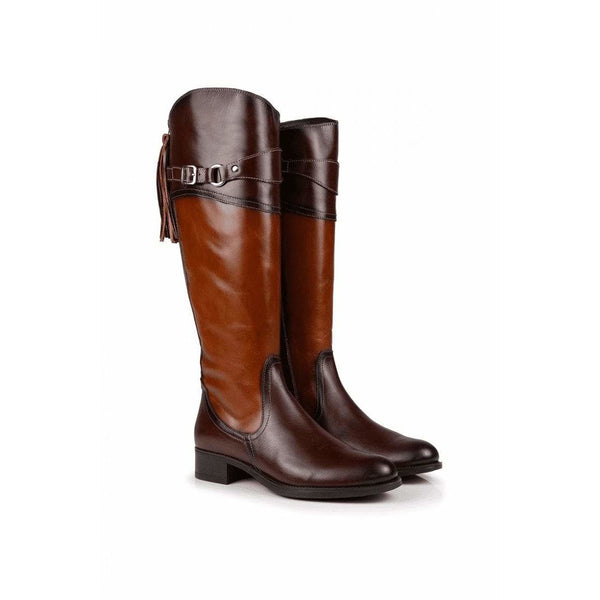 Artemis Light & Dark Tan All Leather Boots - croftonandhall