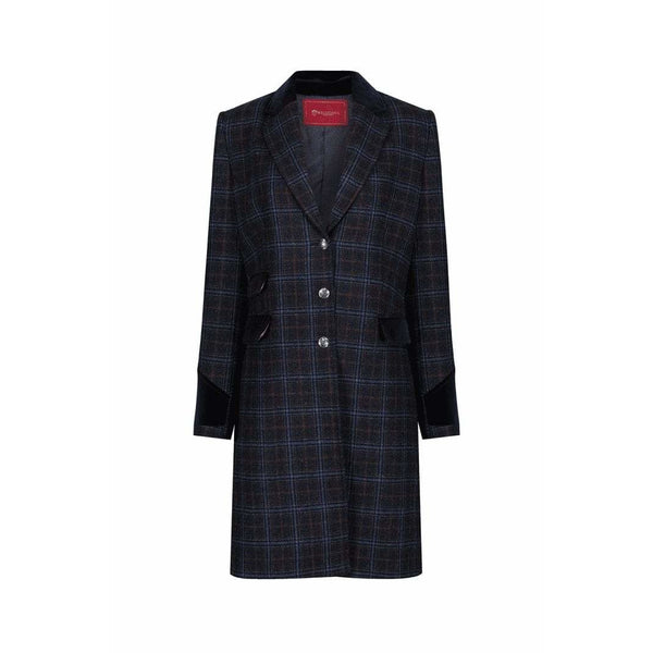 Demelza Blue/Tan Check Wool Coat - croftonandhall