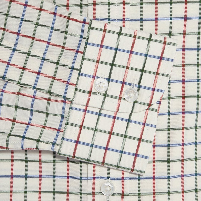 Cream, Red & Green Line Check Twill Cotton Shirt with Cut-away Collar and 2 Button Cuff - croftonandhall