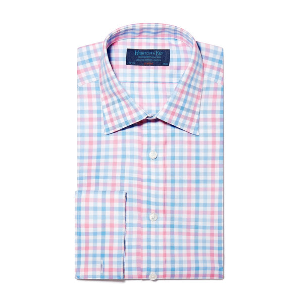 Pink, Blue & White Large Check Twill Cotton Shirt with Double Cuff - croftonandhall