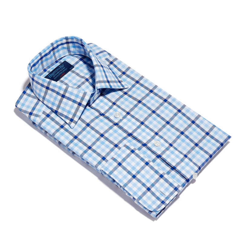 Navy, Blue & White Large Check Twill Cotton Shirt with Double Cuff - croftonandhall