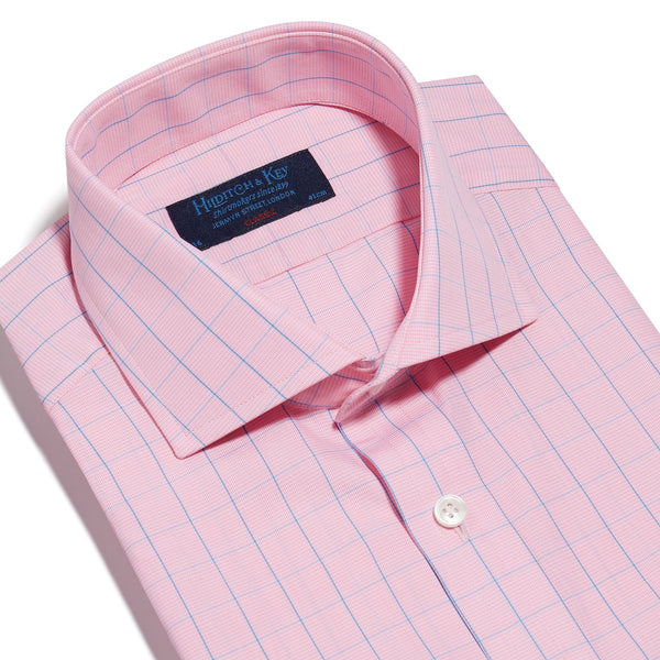 Pink & Blue Line Check Twill Cotton Shirt with Cut-away Collar and 2 Button Cuff - croftonandhall