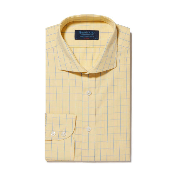 Yellow & Blue Line Check Twill Cotton Shirt with Cut-away Collar and 2 Button Cuff - croftonandhall