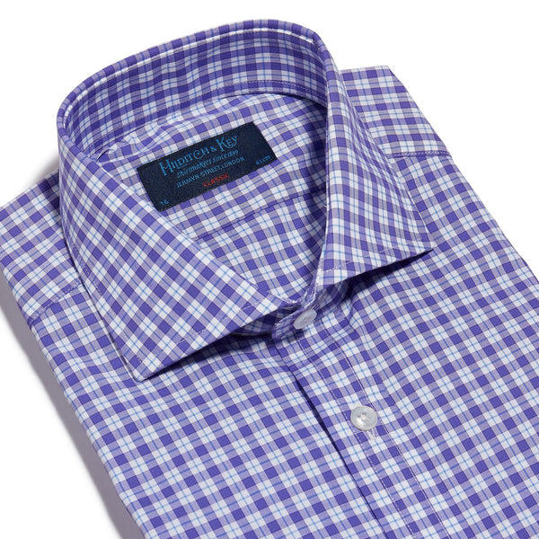 Purple, White & Blue Check Twill Cotton Shirt with Cut-away Collar and 2 Button Cuff - croftonandhall