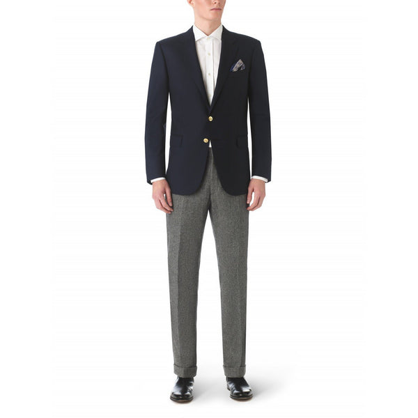 Navy Notch Lapel Wool Blazer with Brass Buttons - croftonandhall