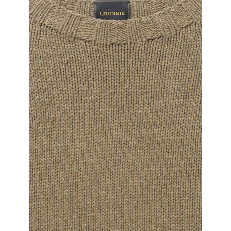 Pure Wool Latte Brown Chunky Knit Crew Neck Jumper - croftonandhall