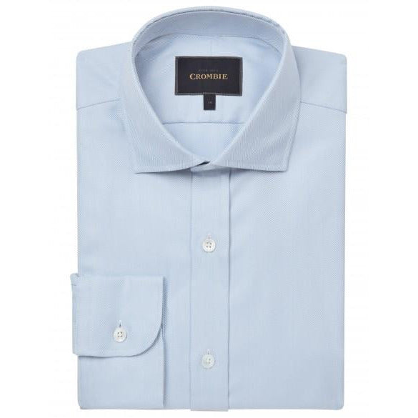 Pure Cotton Blue Herringbone Cutaway Collar Single Cuff Shirt - croftonandhall