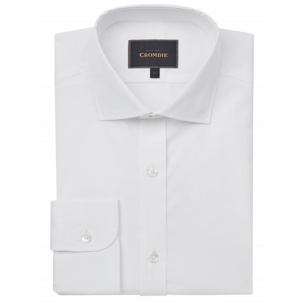 Pure Cotton White Cutaway Collar Shirt with Single Cuff - croftonandhall