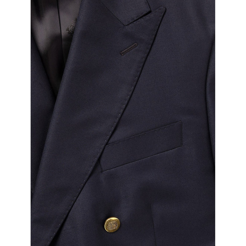 Navy Double Breasted Blazer with Brass Buttons - croftonandhall