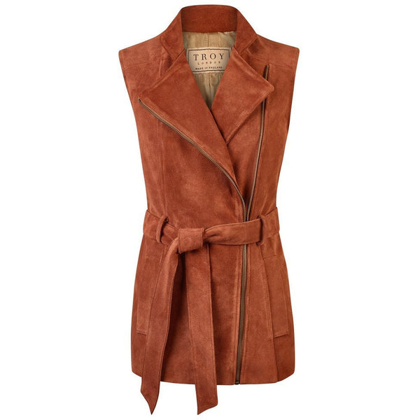 Belted Suede Gilet in Rust - Crofton & Hall