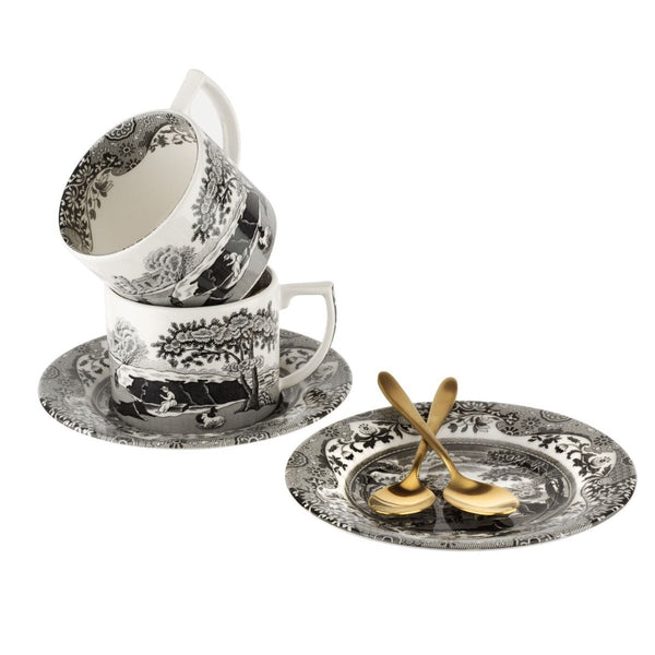 Limited Edition Spode Black Italian Teacups and Spoon Set of 2 - croftonandhall