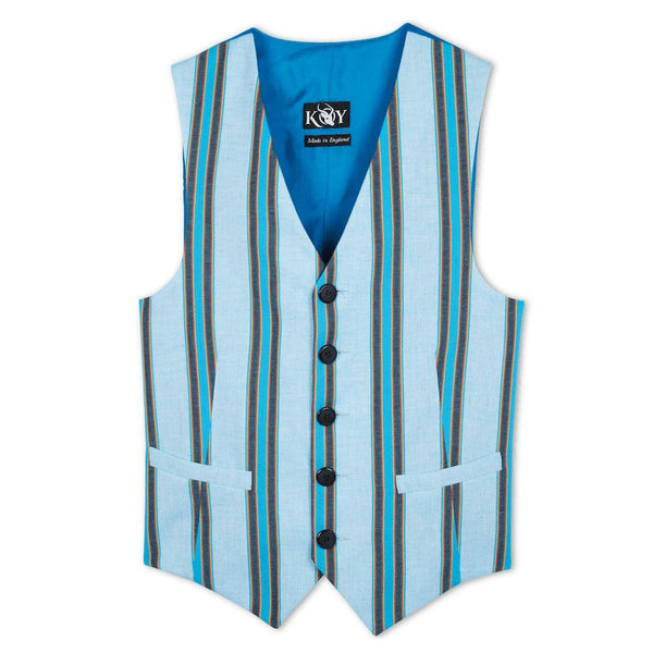 Luo Turquoise-Blue Striped Kikoy Waistcoat - croftonandhall