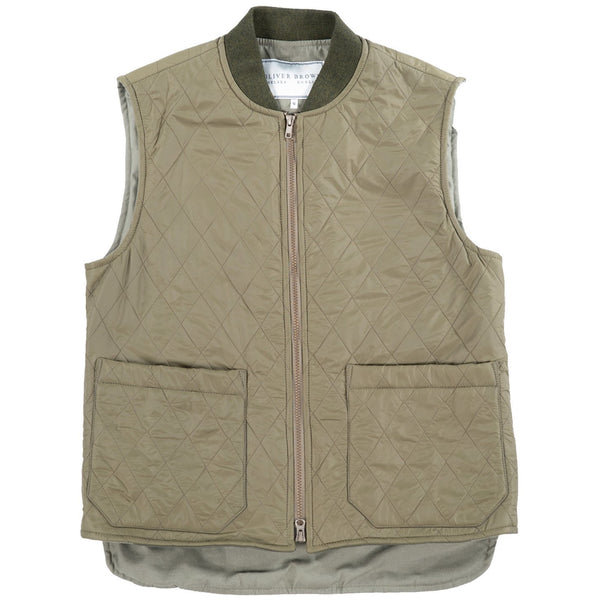 Quilted Gilet in Olive - croftonandhall