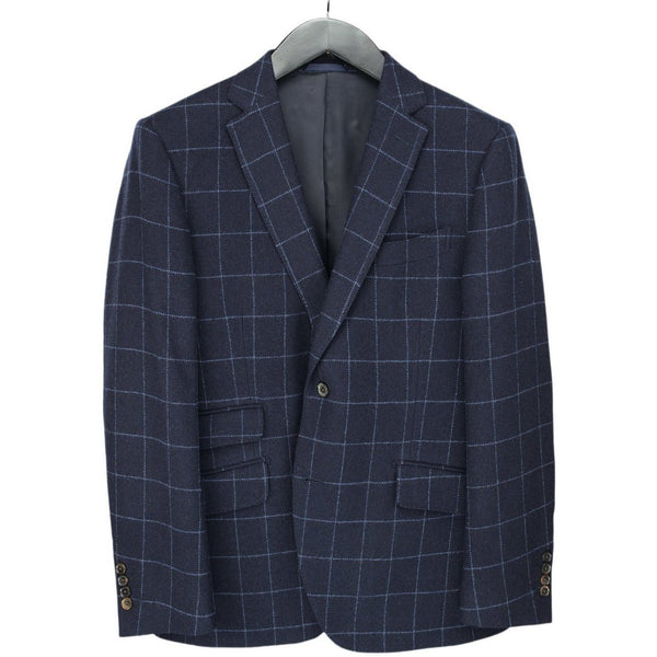 Navy & Blue Checked Single Breasted Woollen Mix Jacket - croftonandhall