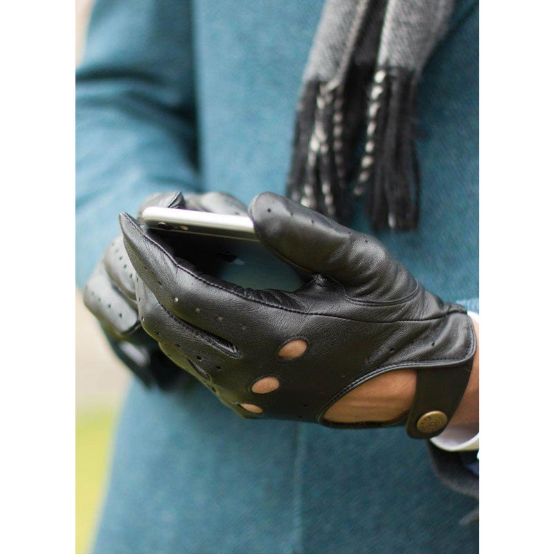 Silverstone Touchscreen Leather Driving Glove in Black with Red Trim - croftonandhall