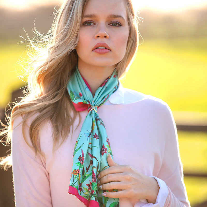 Pastures New | Narrow Silk Scarf - croftonandhall