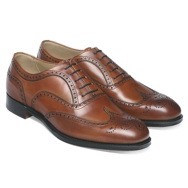 Arthur III Oxford Brogue in Dark Leaf Calf Leather - Crofton & Hall